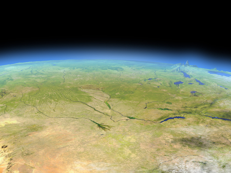 Okawango delta from Earths orbit in space. 3D illustration with detailed planet surface. Banco de Imagens