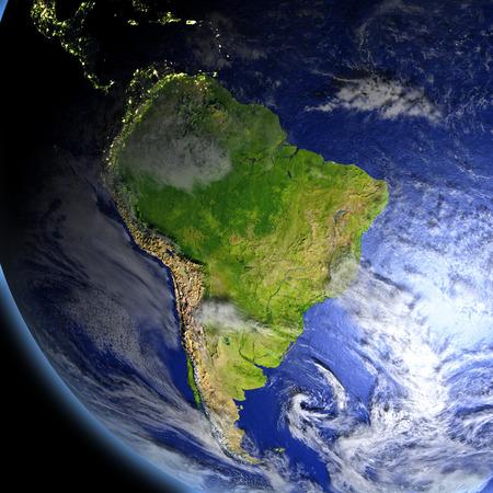 Sudamérica desde el espacio. Ilustración 3D con superficie de planeta detallada. Foto de archivo - 79897655