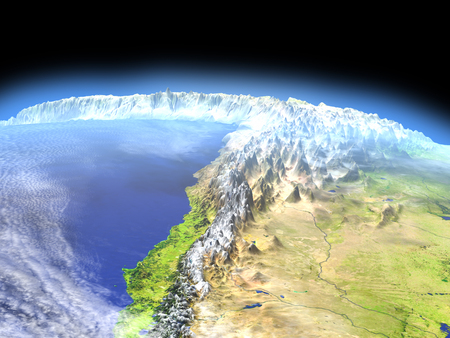 Altiplano in Andes from space. 3D illustration with detailed planet surface.