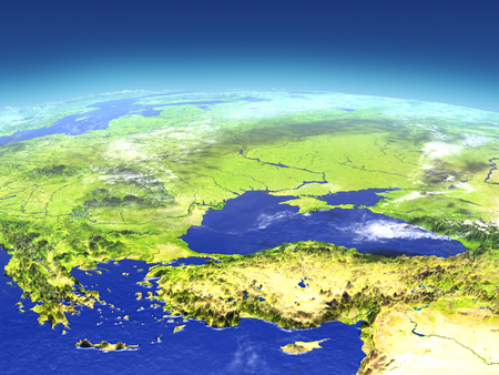Turkey and Black sea region from space. 3D illustration with detailed planet surface. Stok Fotoğraf