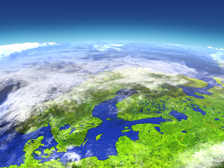 Scandinavian Peninsula from space. 3D illustration with detailed planet surface. Stock Photo