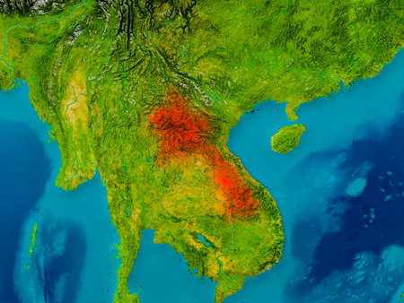 Laos highlighted in red on physical map. 3D illustration. Stock Photo
