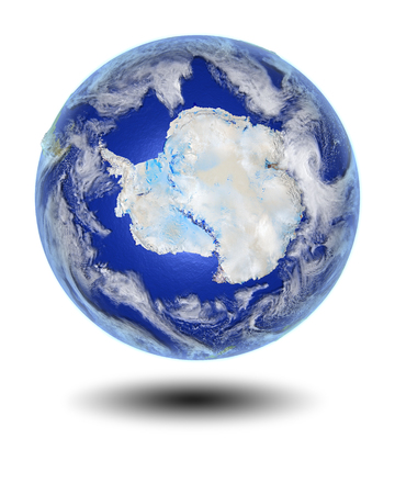 Antarctica on globe hovering above white surface. 3D illustration with clouds, atmosphere and city lights, isolated on white background.