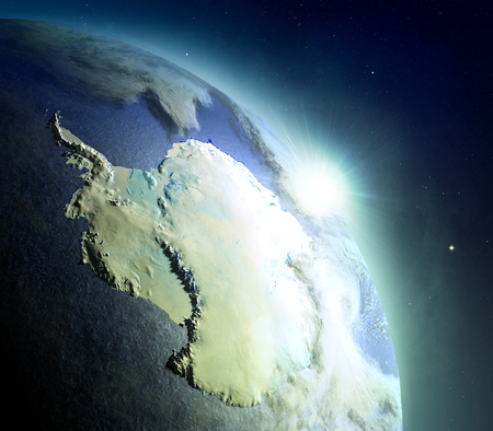 Sunrise above Antarctica. Concept of new beginning, hope, light. 3D illustration with detailed planet surface, atmosphere and city lights. Elements of this image furnished by NASA.