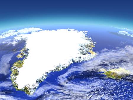 Greenland and Iceland from space. 3D illustration with detailed planet surface. Elements of this image furnished by NASA.