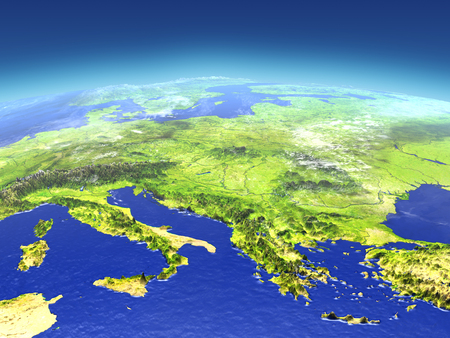 Adriatic sea region from space. 3D illustration with detailed planet surface. Elements of this image furnished by NASA.