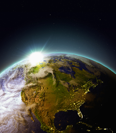 continente americano: Sun rising above North America. 3D illustration with detailed planet surface, atmosphere and city lights. Elements of this image furnished by NASA.