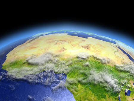 North Africa from Earths orbit in space. 3D illustration with detailed planet surface. Elements of this image furnished by NASA.