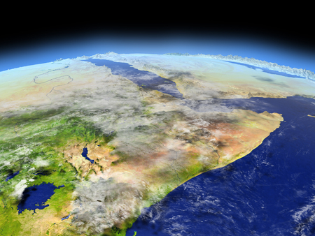 Horn of Africa from Earths orbit in space. 3D illustration with detailed planet surface. Elements of this image furnished by NASA.