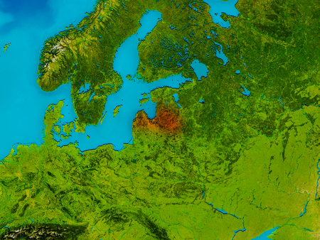 Latvia highlighted in red on physical map. 3D illustration. Elements of this image furnished by NASA. Stock Photo