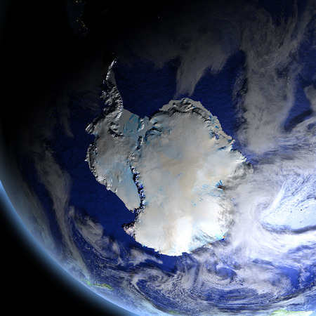 Antarctica from space. 3D illustration with detailed planet surface. Elements of this image furnished by NASA. Stock Photo