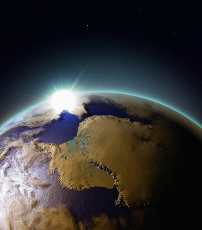 beginnings: Sun rising above Antarctica. 3D illustration with detailed planet surface, atmosphere and city lights. Elements of this image furnished by NASA.