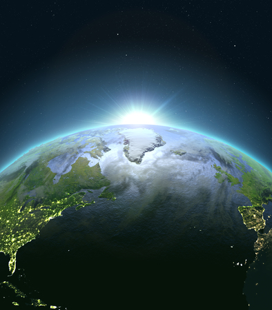 city lights: Sunrise above North Atlantic. Concept of new beginning, hope, light. 3D illustration with detailed planet surface, atmosphere and city lights. Elements of this image furnished by NASA. Stock Photo