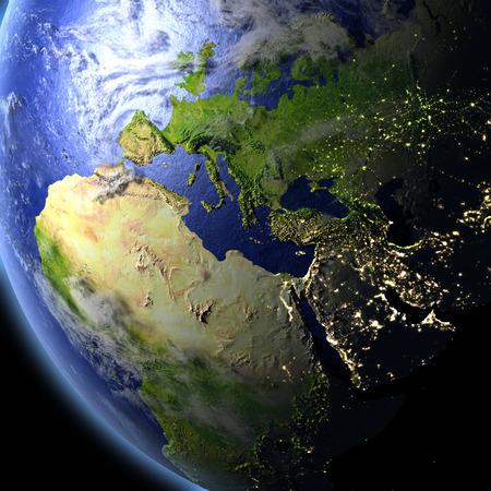 EMEA 地域空間から。詳細な惑星の表面に 3 D のイラスト。NASA から提供されたこのイメージの要素です。