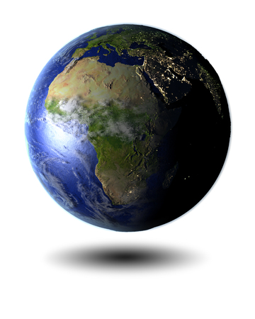 Africa on globe hovering above white surface. 3D illustration with clouds, atmosphere and city lights, isolated on white background. Elements of this image furnished by NASA.