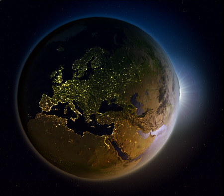 detailed image: Europe with the Sun shining through the atmosphere. 3D illustration with detailed planet surface. Elements of this image furnished by NASA. Stock Photo