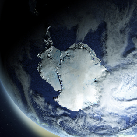 antarctica: Antarctica from Earths orbit in space. 3D illustration with detailed planet surface. Elements of this image furnished by NASA.