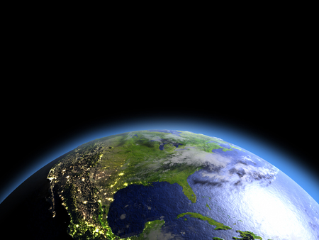 orbiting: North America as seen from Earths orbit in space during dawn. 3D illustration with detailed planet surface. Stock Photo