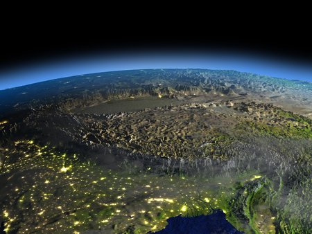 Early morning above Himalayas from Earths orbit in space. 3D illustration with detailed planet surface.