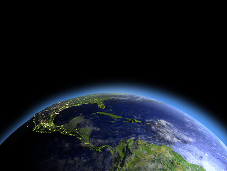 Central America as seen from Earths orbit in space during dawn. 3D illustration with detailed planet surface. Elements of this image furnished by NASA. Stock Photo