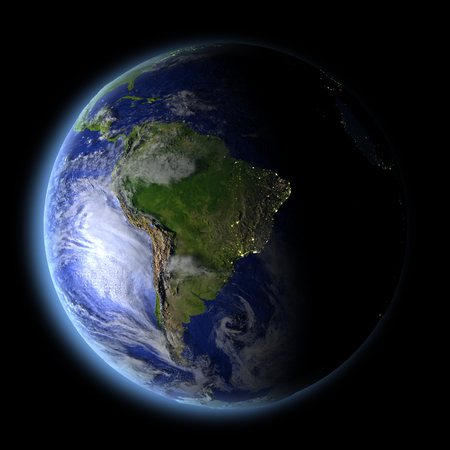 South America from Earths orbit in space with evening light and visible city lights. 3D illustration with detailed planet surface. Elements of this image furnished by NASA.