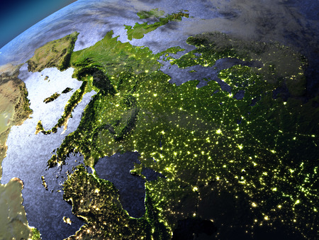 visible: Europe from space in the evening sunlight with visible city lights. 3D illustration with detailed planet surface. Elements of this image furnished by NASA.