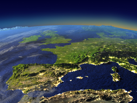 Iberia from space in the evening sunlight with visible city lights. 3D illustration with detailed planet surface. Elements of this image furnished by NASA.
