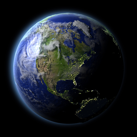 city lights: North America from Earths orbit in space with evening light and visible city lights. 3D illustration with detailed planet surface.