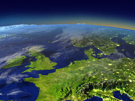 Western Europe from space in the evening sunlight with visible city lights. 3D illustration with detailed planet surface.