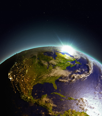 Central and North America from Earths orbit in space just as the sun rises. 3D illustration with detailed planet surface. Elements of this image furnished by NASA. Stock Photo