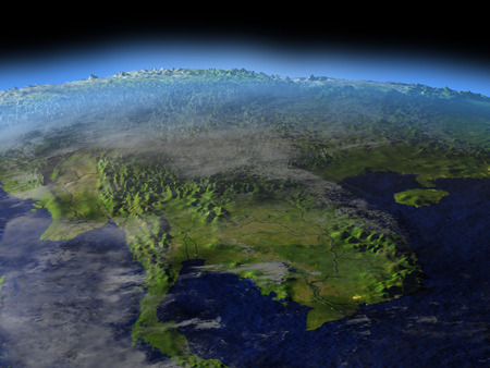 Early morning above Indochina from Earth's orbit in space. 3D illustration with detailed planet surface.