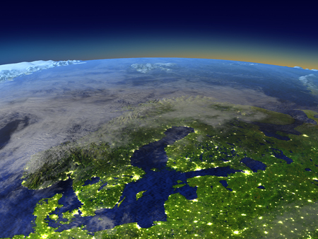 Scandinavian Peninsula from space in the evening sunlight with visible city lights. 3D illustration with detailed planet surface. Elements of this image furnished by NASA.