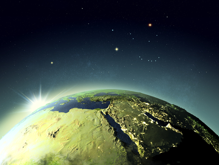fading: Sunset above Middle East. 3D illustration with detailed planet surface. Elements of this image furnished by NASA.