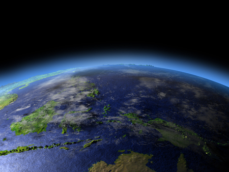 Early morning above Papua from Earths orbit in space. 3D illustration with detailed planet surface. Stock Photo