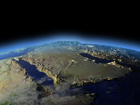 Early morning above Arab Peninsula from Earths orbit in space. 3D illustration with detailed planet surface. Elements of this image furnished by NASA.