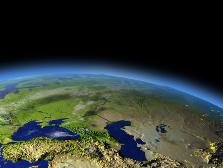 Early morning above Western Asia from Earths orbit in space. 3D illustration with detailed planet surface. Stock Photo