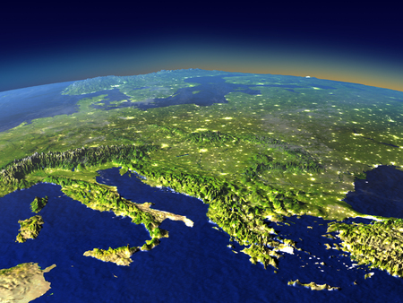 Adriatic sea region from space in the evening sunlight with visible city lights. 3D illustration with detailed planet surface. Elements of this image furnished by NASA.