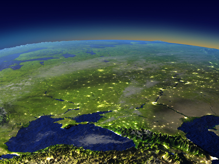 Caucasus region from space in the evening sunlight with visible city lights. 3D illustration with detailed planet surface. Elements of this image furnished by NASA.
