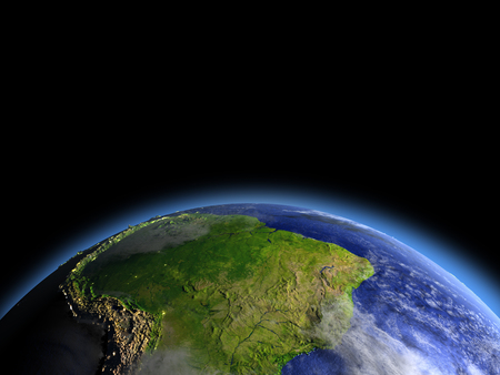 South America as seen from Earths orbit in space during dawn. 3D illustration with detailed planet surface. Banco de Imagens