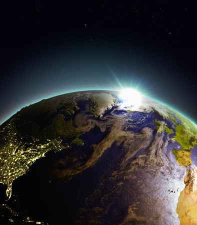orbiting: North Atlantic from Earths orbit in space just as the sun rises. 3D illustration with detailed planet surface. Elements of this image furnished by NASA. Stock Photo