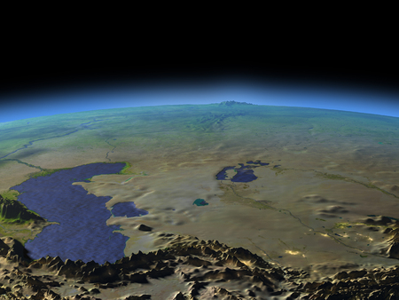 Early morning above Central Asia from Earths orbit in space. 3D illustration with detailed planet surface. Stock Photo