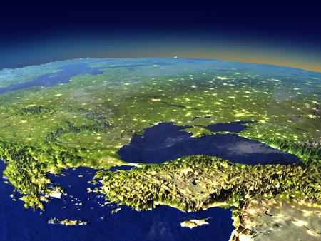 目に見える街の明かりで夜日光に宇宙からトルコ、黒海地域。詳細な惑星の表面に 3 D のイラスト。