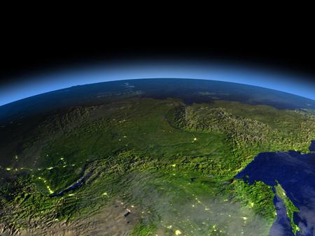 早朝から地球のシベリアの上は空間の軌道します。詳細な惑星の表面に 3 D のイラスト。