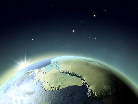 南極上空の夕焼けです。詳細な惑星の表面に 3 D のイラスト。 写真素材
