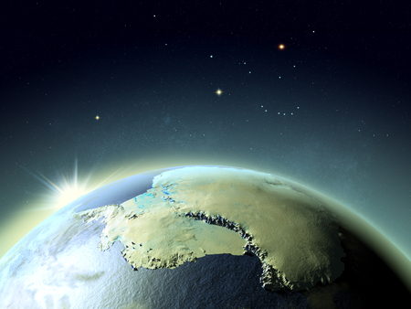 antarctic: Sunset above Antarctica. 3D illustration with detailed planet surface.