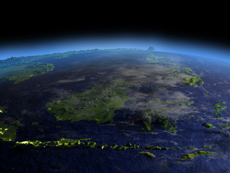 city lights: Early morning above Malaysia from Earths orbit in space. 3D illustration with detailed planet surface.