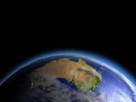 orbiting: Australia as seen from Earths orbit in space during dawn. 3D illustration with detailed planet surface. Elements of this image furnished by NASA.