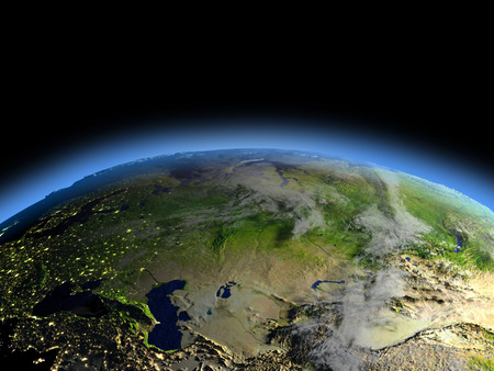 city lights: Early morning above Western and central Asia from Earths orbit in space. 3D illustration with detailed planet surface. Elements of this image furnished by NASA.