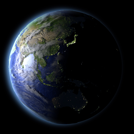 city lights: East Asia from Earths orbit in space with evening light and visible city lights. 3D illustration with detailed planet surface. Elements of this image furnished by NASA.