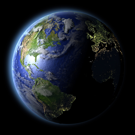 Northern Hemisphere from Earths orbit in space with evening light and visible city lights. 3D illustration with detailed planet surface. Elements of this image furnished by NASA.